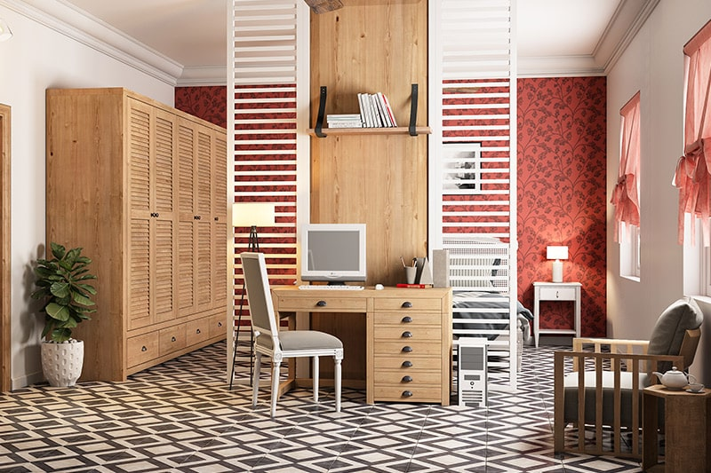 90s home office cum study room designs with enough storage and counter space