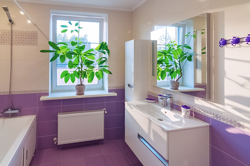 A bathroom with the room colour purple this tiled bathroom design works in all the right ways for you