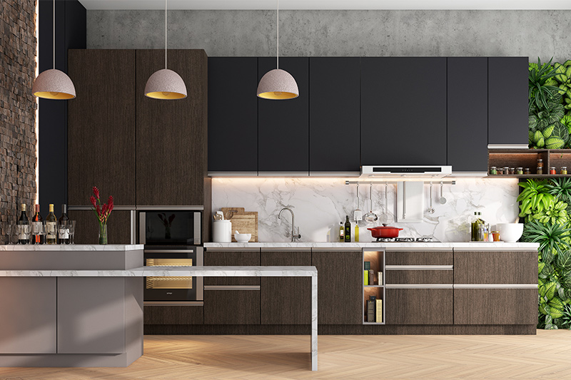Brown beautiful colour that gels perfectly with black wood kitchen cabinets.