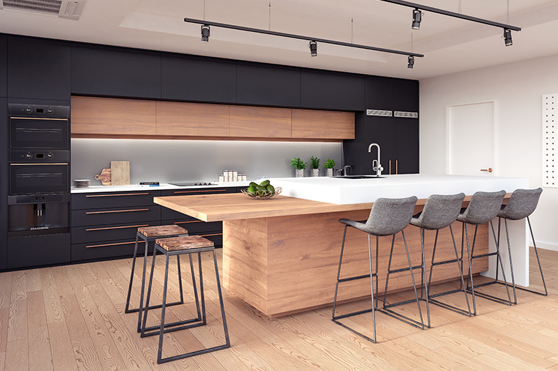 Beautiful island black and wood kitchen cabinets you may love the touch and feel of it.