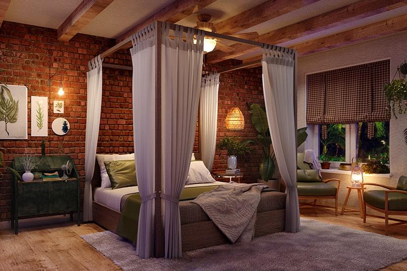 Canopy bed designs were famous in 90s bedroom interior design trends
