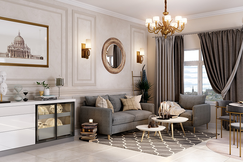 Luxury living room design where a chandelier is an embodiment of luxury.