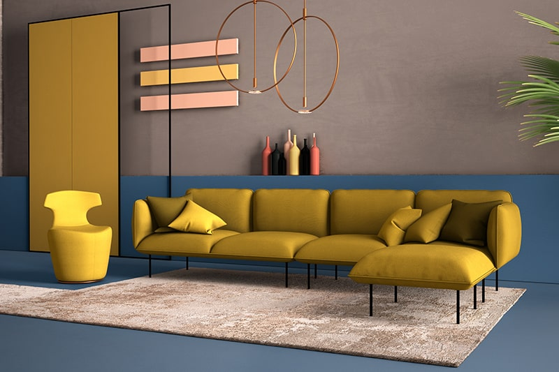 The contemporary steel blue and mild grey themed living room is the perfect idea for party-loving people