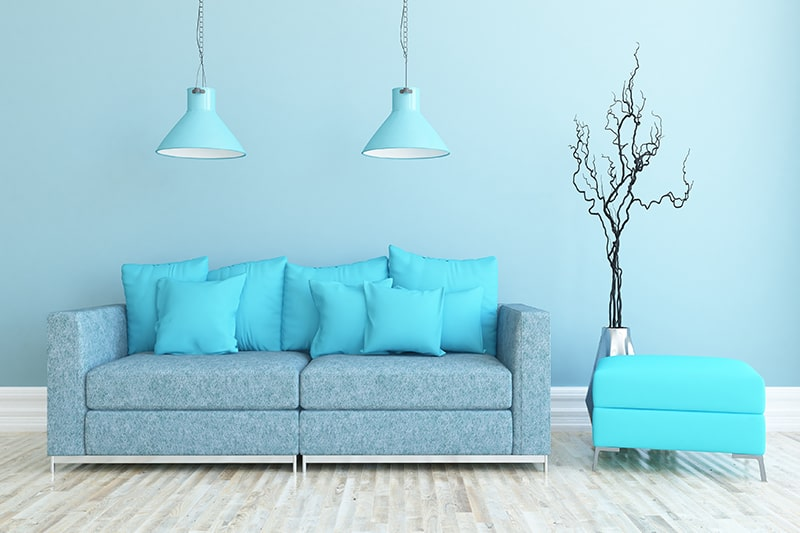 A cool icy blue living room colors adds crispness of chilly winters