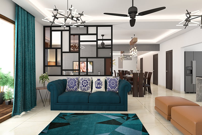 The dreamy teal blue living room quite refreshing and rejuvenating
