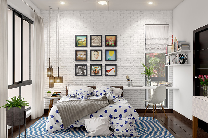 Guest bedroom colours for your home with wall art or photographs