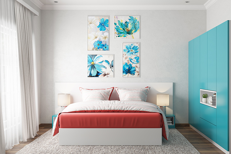 Guest bedroom where colour plays a significant role as it acts as a canvas for the rest of the decor for guest bedroom decor