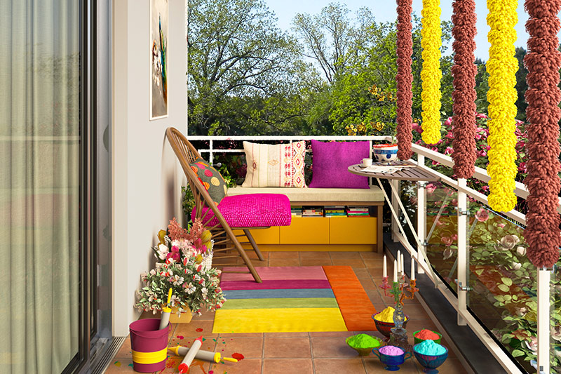 Rug to brighten up the place, paint flower pots and decorate it with fresh fragrant flowers for a cheerful vibe for holi decoration at home.