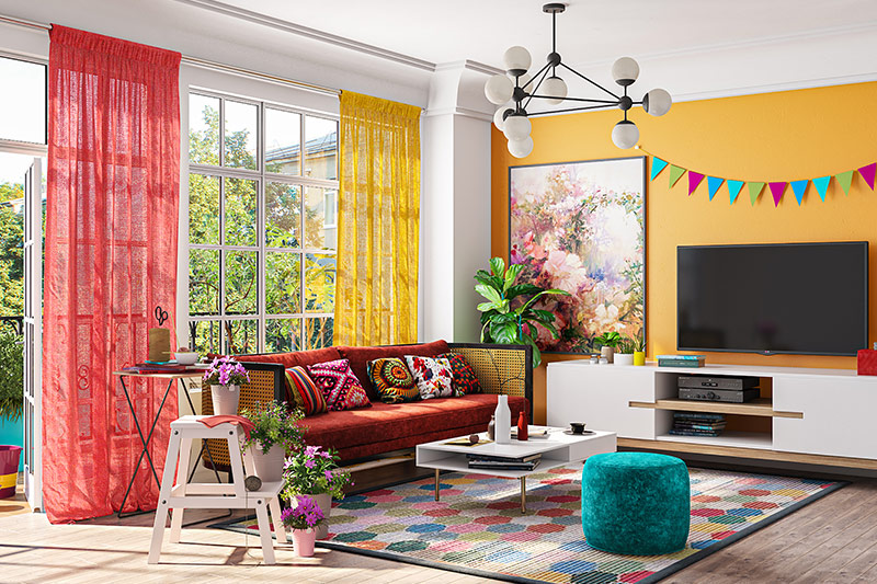 Living room can be embellished with beautiful upholstery, cushions, and curtains, cool artwork on the wall which are the best holi decoration ideas for home.