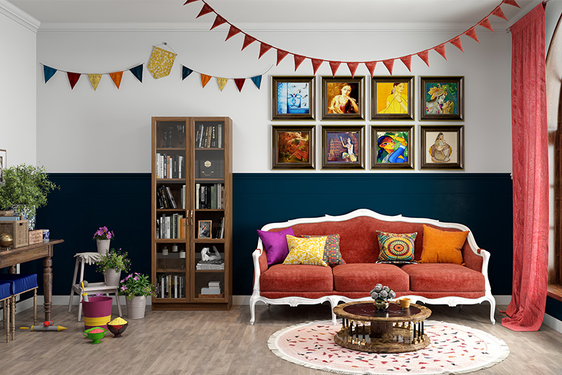 Holi home decoration ideas where you can add colourful wall art to the walls and a beautiful patterned rug to adorn the floor in the living room.