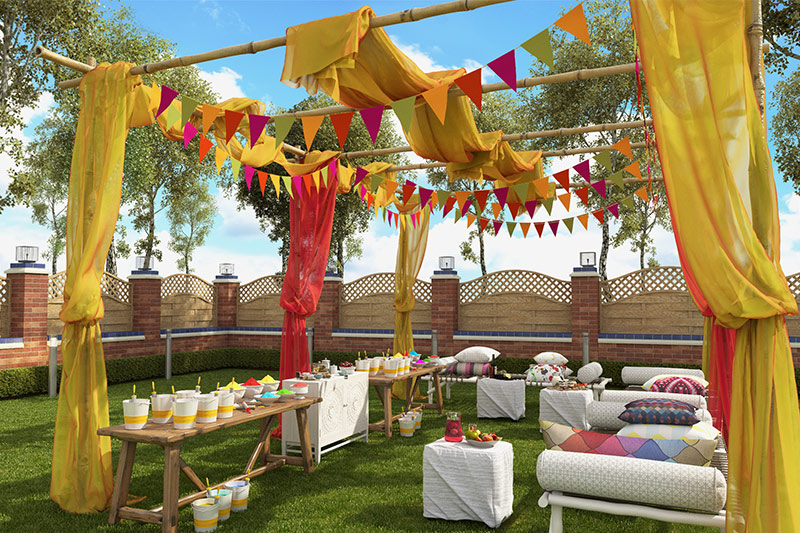 holi home decor, celebrate on lawns, patios, balconies, and terraces. hang flower pots, string lights, to coloured buckets full of gulal on this festive.