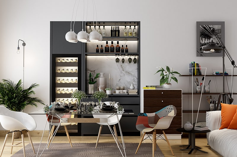 Home mini bar designs with a simple unused cabinet and home bar unit designs