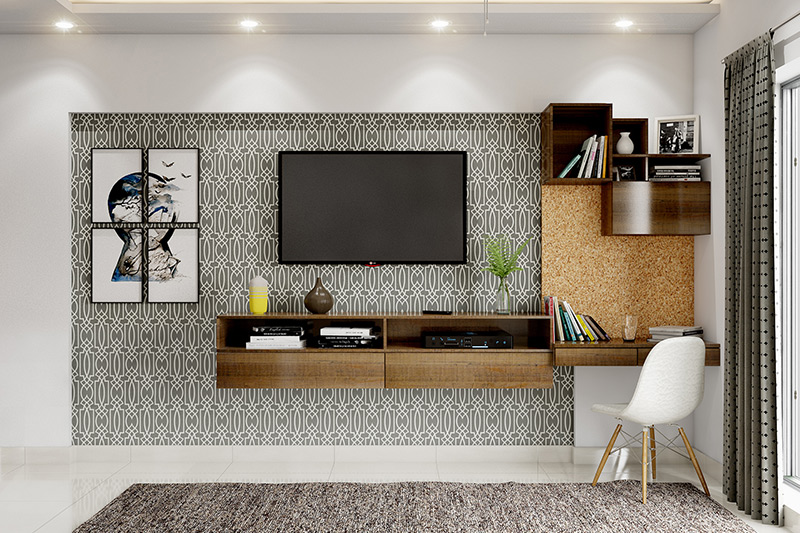 Home office design where a floating desk is built as an extension to an entertainment centre