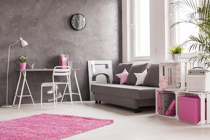 Home office setup where you can go all with a pink themed study as an accent colour for your home office design