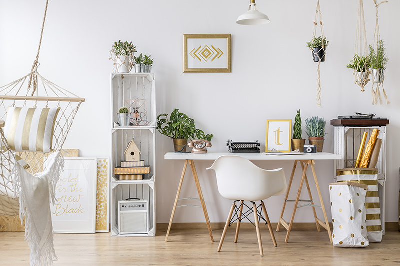 Home office table and a few upcycled crates are trandformed into a gorgeous home office design
