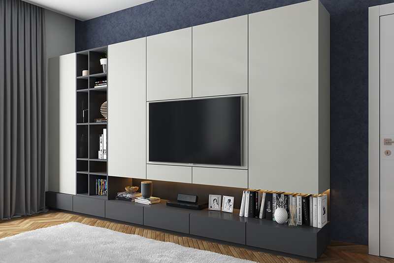 New home design trends go for minimal living room design and hide your Blu-ray discs, equipment and more behind your tv unite.