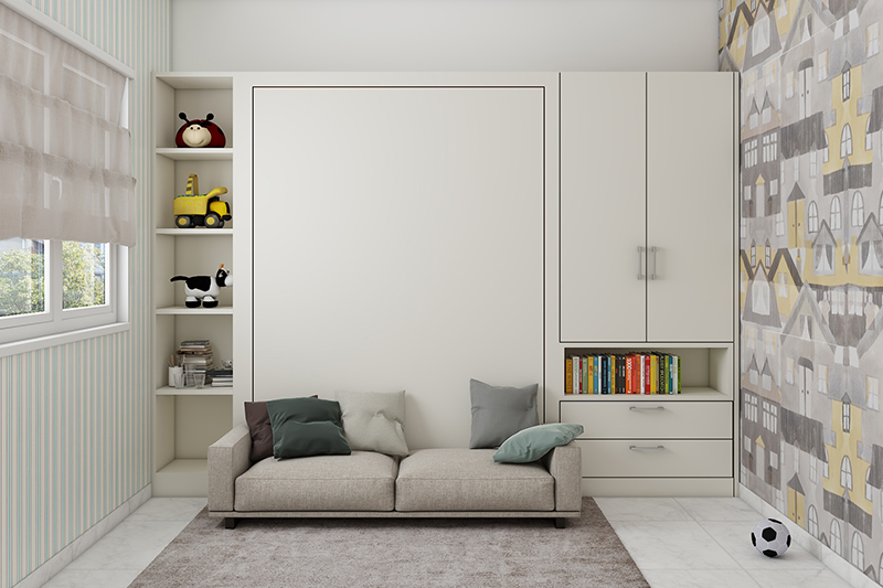 2020 decorating trends with a modern living space designed with a murphy bed and a bookshelf beside it with a cupboard above it