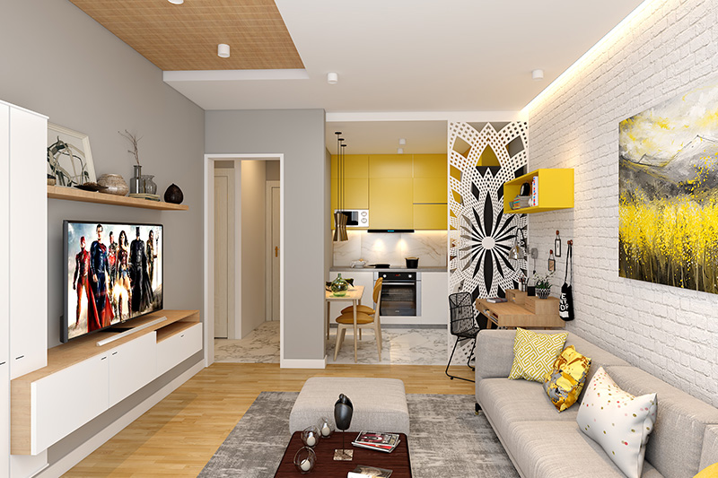 Living room and kitchen design for small spaces installing a stylish white screen divider create the distinction.