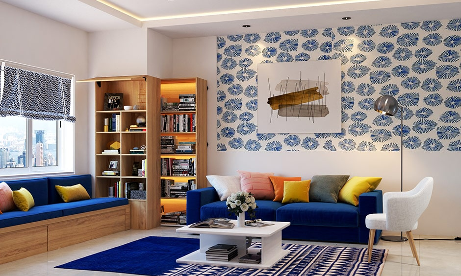 Living room corner decor with a bookshelf will add value to corners of living room
