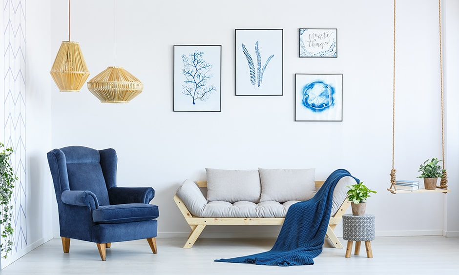 Living room corner furniture with a single sofa chair or a side table