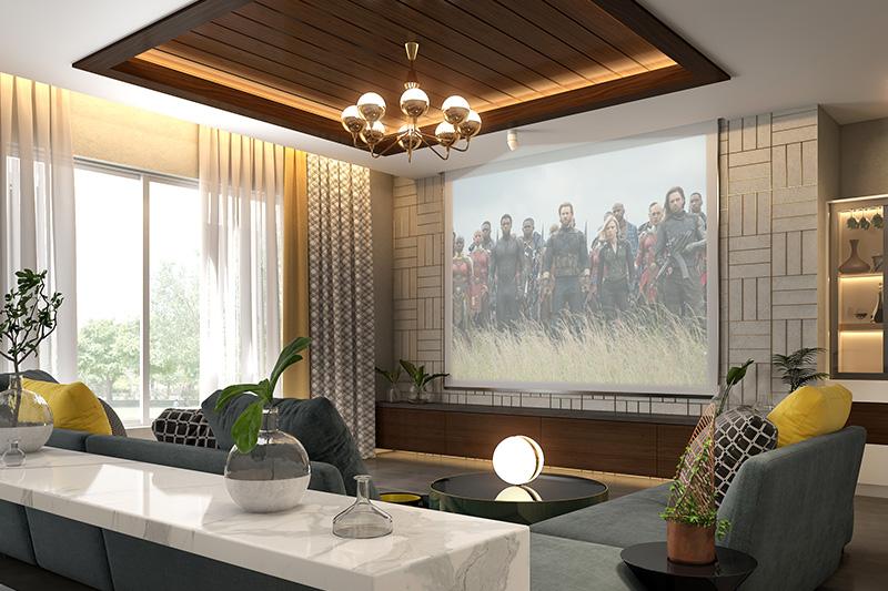 False ceilings are hidden treasures for a modern luxury living room.