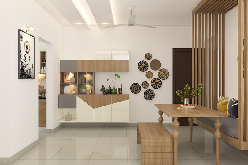 Modern dining room decor with quirky seating, floating seat and a bench