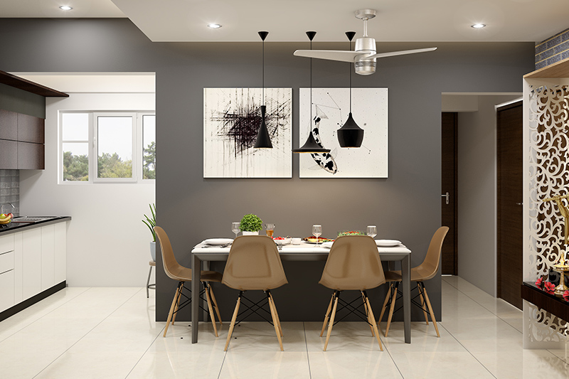 Modern dining room decor ideas for your home where the dining area is setup against the wall