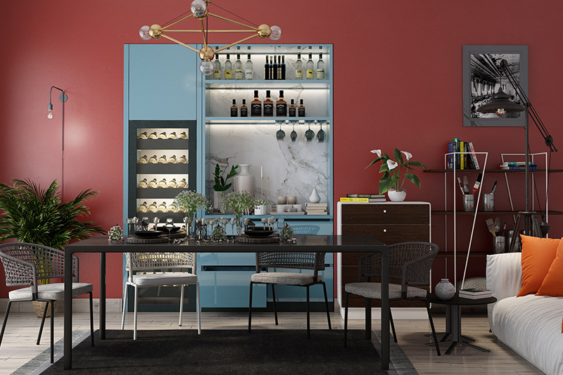 Modern dining room sets with a bar in the living area