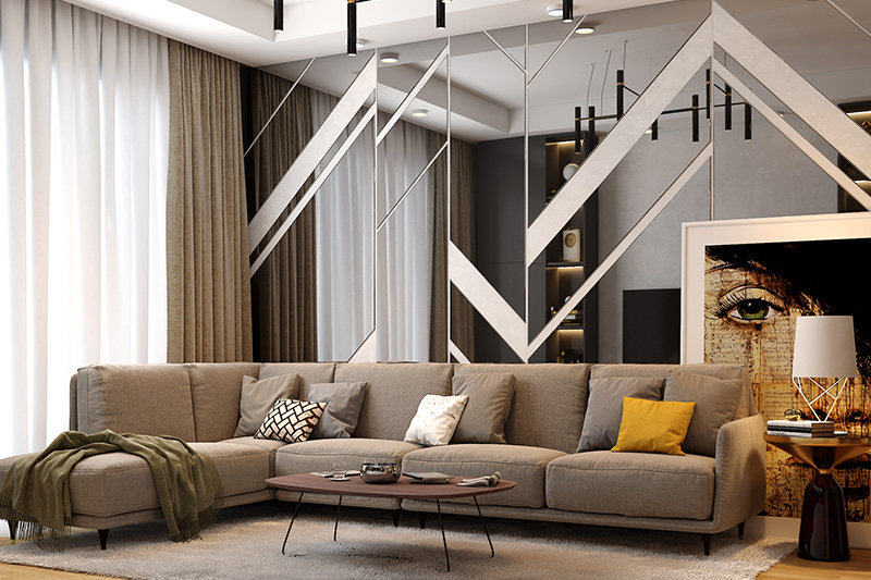 Luxury living room interior with modern glass walls that create an everlasting impression.