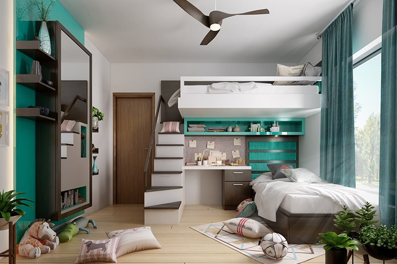 Modern style wooden bed designs with a loft to save space for your small bedroom