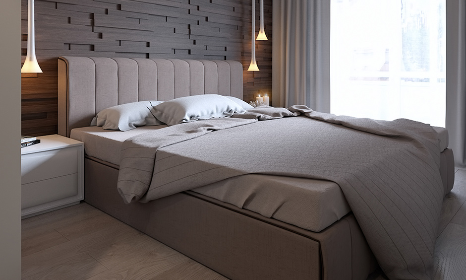Walnut wood bedroom wall panels are an excellent idea for a modern bedroom.