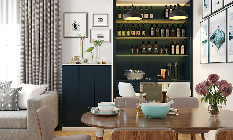 Old is gold with Aqua blue combo bar cabinet is a perfect modern bar cabinet design for homes.
