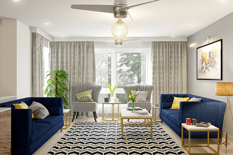 Curtains for small living room with bold grey and bright blue furniture it makes living room look classier.