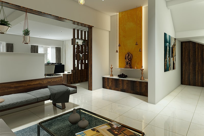 Pooja room interior design in hyderabad is simple, made from wood and marble