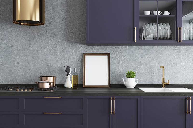 Purple colour room design where there is a purple kitchen which is modern and extremely elegant