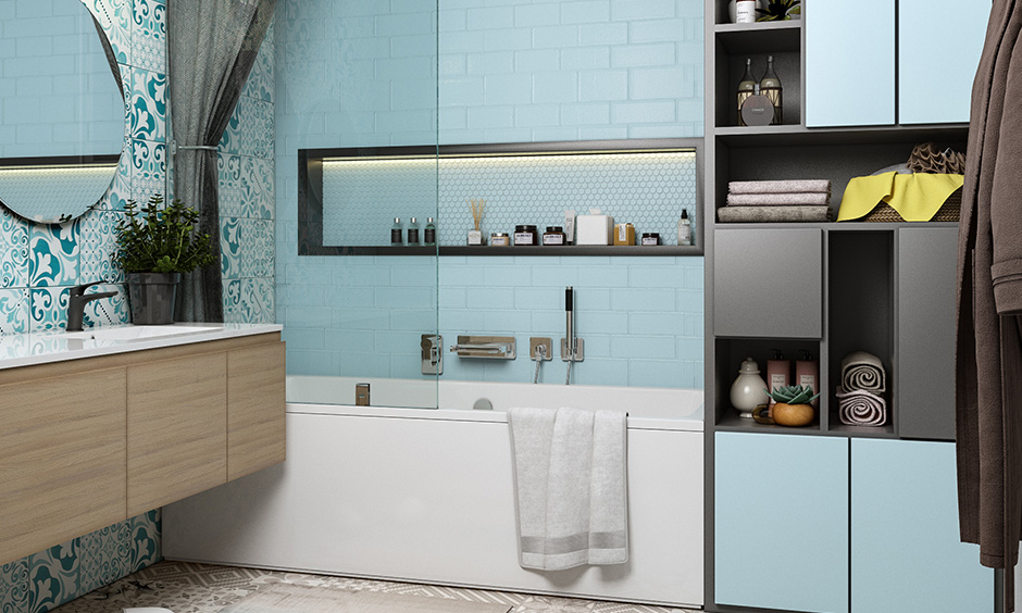 Best bathroom colors grey and white tiled floors paired with sky blue cabinetry looks refreshing.