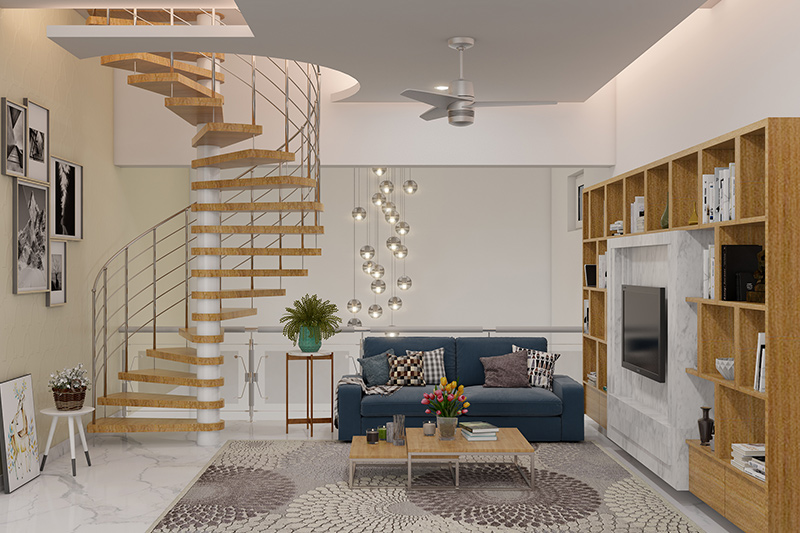 Small living room design ideas connect the room to rooms on the other floors with this stunning spiral staircase with no space.