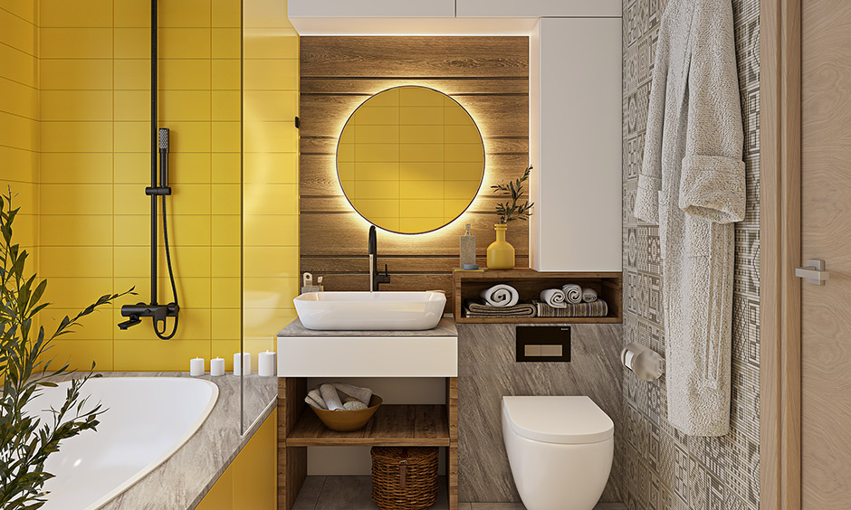 Sunshine yellow bathroom colors delightfully bright bathroom is ideal for those who revel in everything bold.