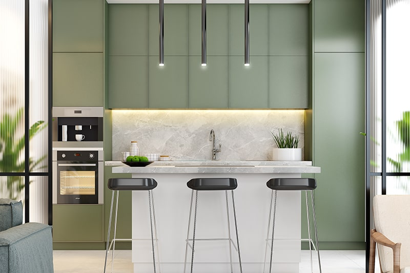 Urban modern style kitchen design is one of the famous kitchen styles, it is perfect for cosmopolitan lifestyles