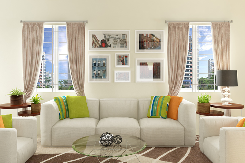 Classic window designs for small living room with inside grill are simple yet sophisticated.
